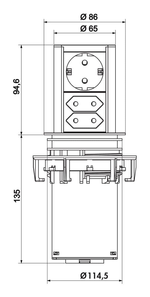 Elevator 3, Verzinkbaar stopcontactelement., roestvrij staalkleurig