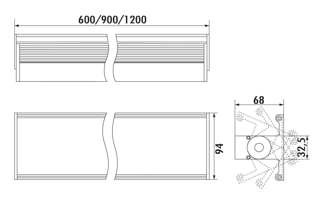 Planato E, Langveldlamp., roestvrij staalkleurig, L 600 mm, 14 W