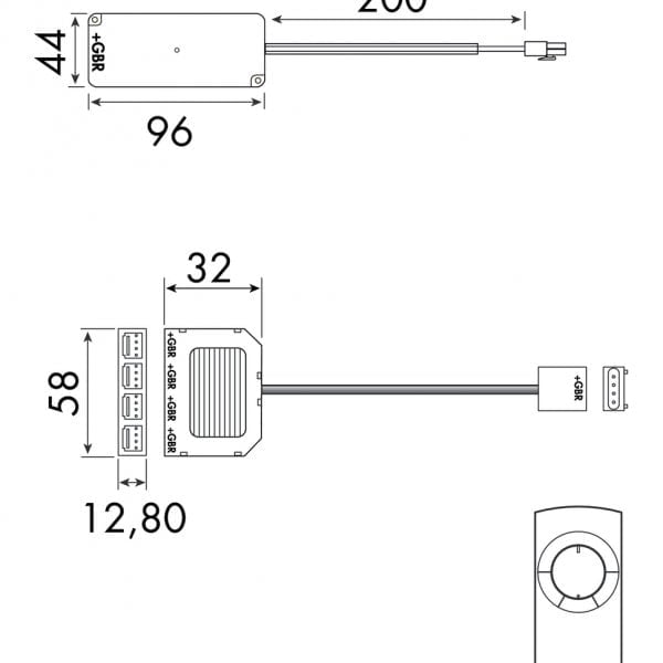 Draaicontroller-set voor Fascia LED Flex Stripes RGB., wit