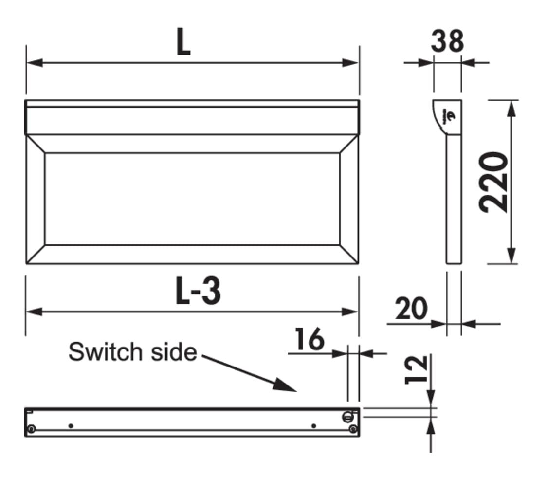 Wing LED, Verlichte legbord., L 1200 mm, 11 W