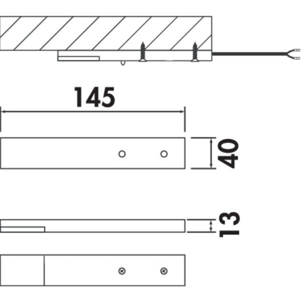 Trave II LED, Onderbouw-/nislamp., Afzonderlijke lamp zonder schakelaar