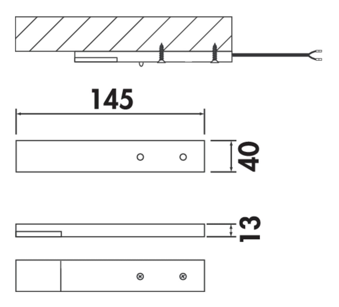 Trave II LED, Onderbouw-/nislamp., Afzonderlijke lamp met Touch LED schakelaar en dimmer