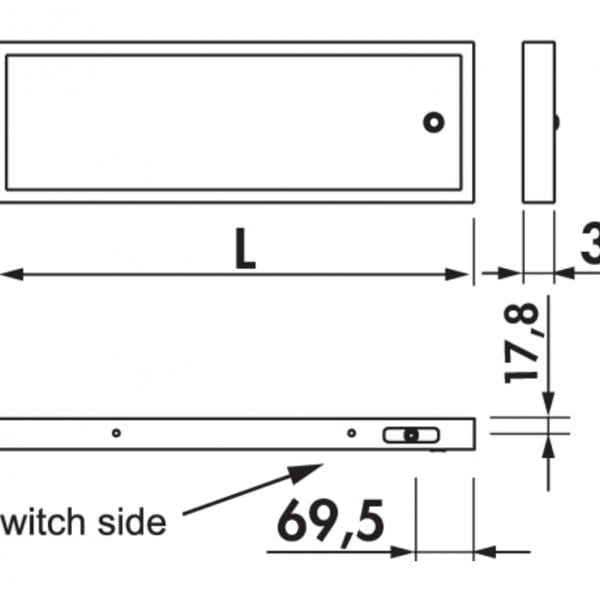 Lista 30 LED, Verlichte legbord., L 450 mm, 4,32 W