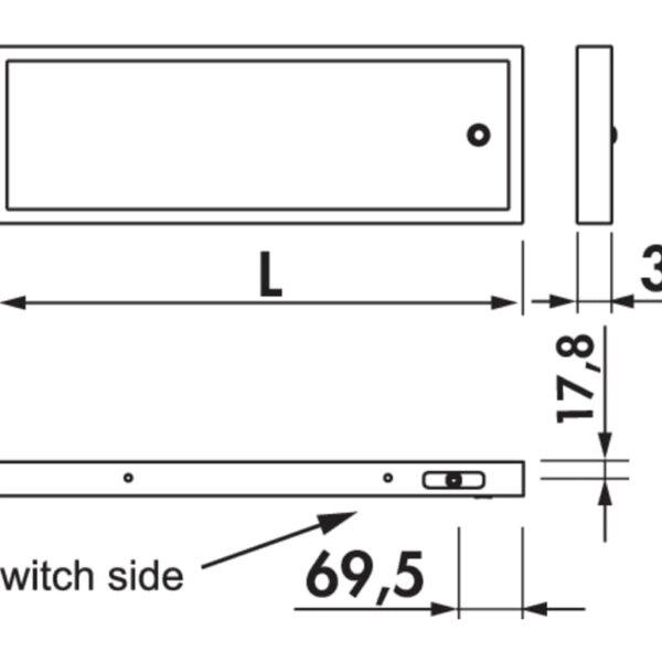 Lista 30 LED, Verlichte legbord., L 600 mm, 5,94 W