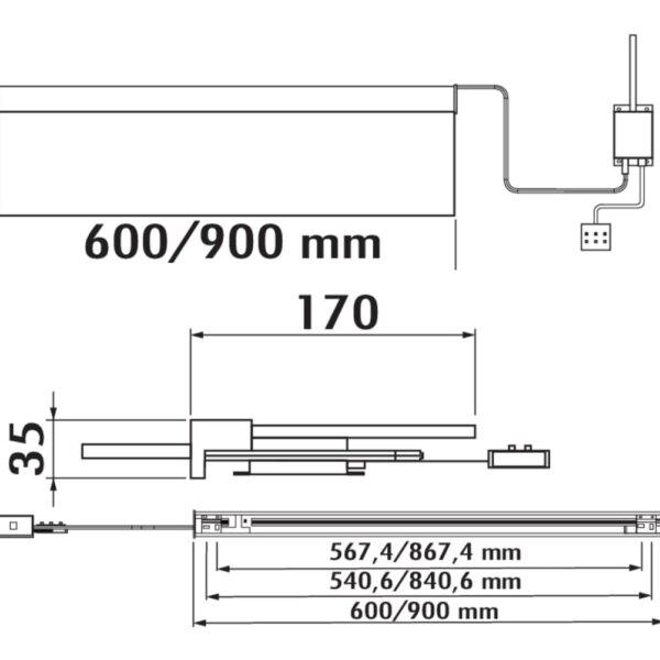 Terreno LED, Verlichte legbord., L 600 mm, ca. 2,1 W