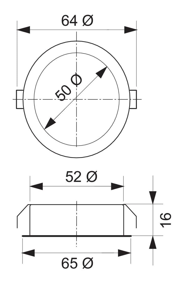 Riflett 1 LED, Inbouwspot., set-2, 3000 K warmweiァ