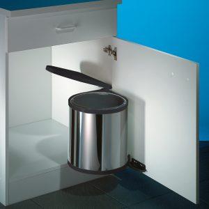 Hailo Rondo 1, afvalsysteem voor deuren, roestvrij staal