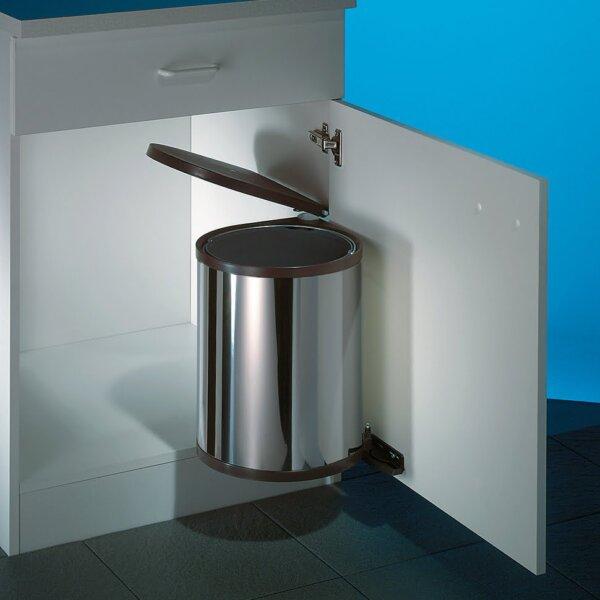 Hailo Rondo 2, afvalsysteem voor deuren, roestvrij staal