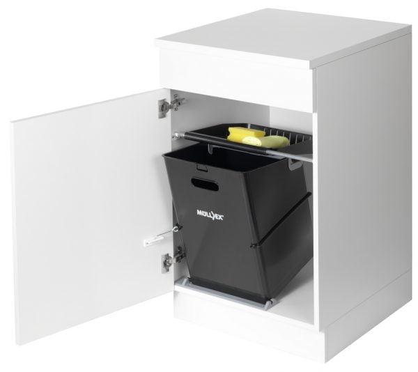 Mullex Single 35, afvalsysteem voor deuren, zwart