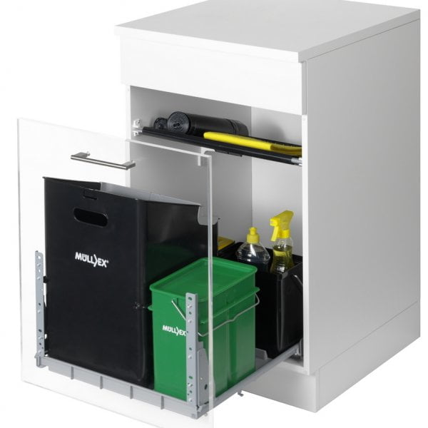 Mullex Comfort 35/5/4/4, afvalsysteem voor Frontuittreksysteem, antraciet/groen