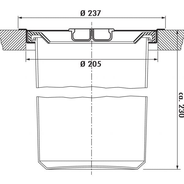 Dassa 4, Afvalverzamelsysteem voor vrijstaande container., roestvrij staal met kunststofelement