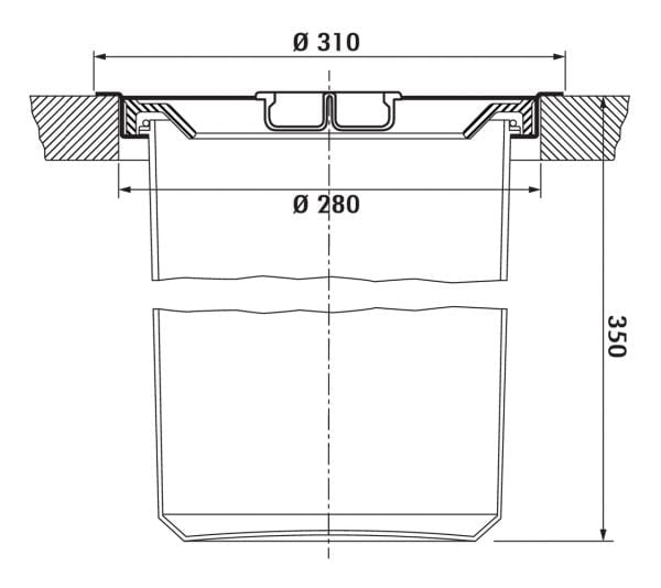 Dassa 2, Afvalverzamelsysteem voor vrijstaande container., roestvrij staal met kunststofelement