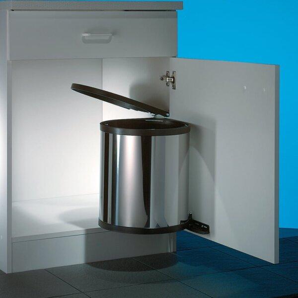 Hailo Rondo 3, afvalsysteem voor deuren, roestvrij staal