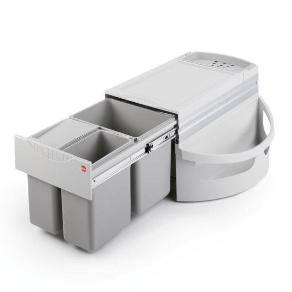 Hailo Rondo 2 plus, afvalsysteem voor hoekkasten, lichtgrijs