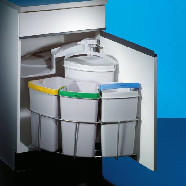 Cabbi® 4, afvalsysteem voor deuren, lichtgrijs