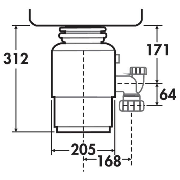 Evolution 100, Afvalverwijderingtoestel., antraciet, H 312 mm