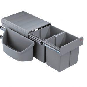 Corner Boy 2 (voor diagonale hoekkasten), afvalsysteem voor hoekkasten, alu grijs