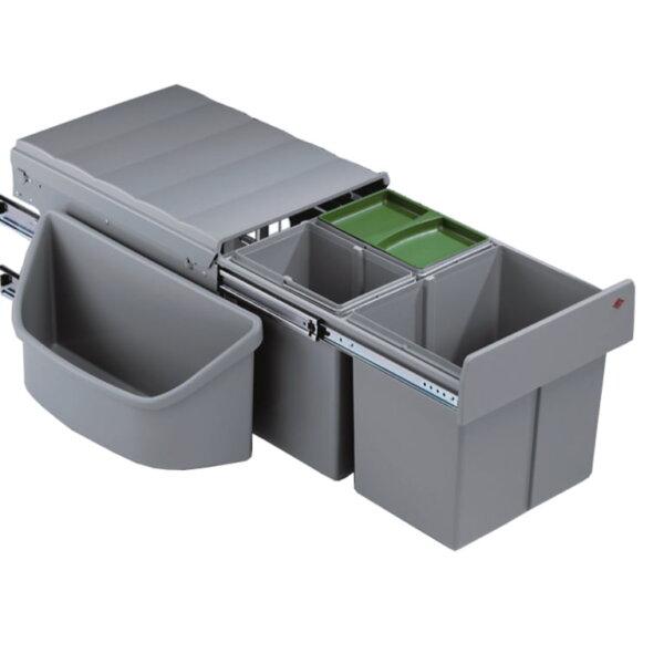 Corner Boy 3 (voor diagonale hoekkasten), afvalsysteem voor hoekkasten, alu grijs