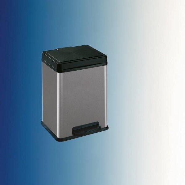 Dubbel pedaal, afvalsysteem voor vrijstaande container, zilver