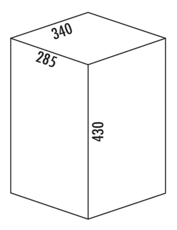 Dubbel pedaal, Afvalverzamelsysteem voor vrijstaande container., zilver