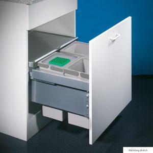Cox® Base 360 S/600-3, Afvalverzamelaar met frontuittreksysteem, zonder biologisch deksel, lichtgrijs, H 360 mm