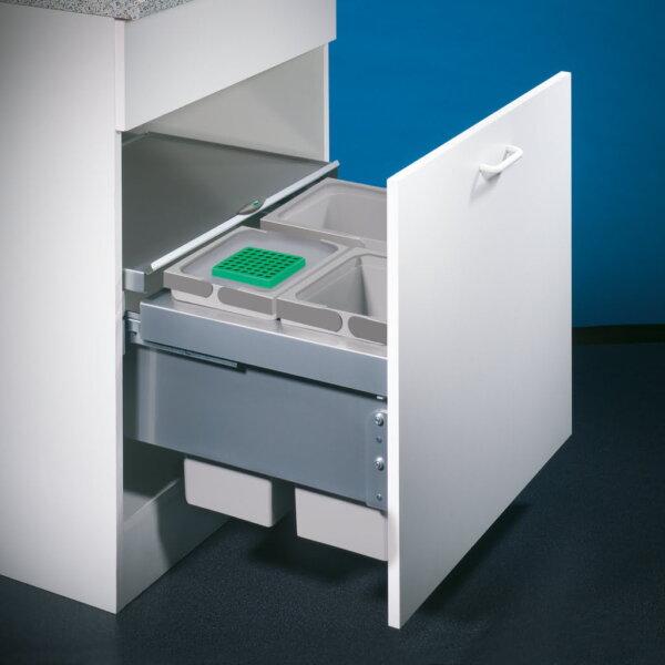 Cox® Base 360 S/600-3, Afvalverzamelaar met frontuittreksysteem, met biologisch deksel, lichtgrijs, H 360 mm