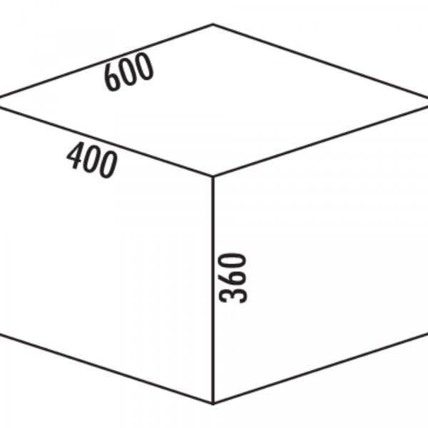 Coxィ Base 360 S/600-3, Afvalverzamelaar met frontuittreksysteem., met biologisch deksel, lichtgrijs, H 360 mm