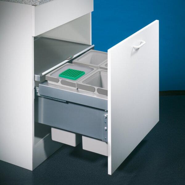 Cox® Base 360 S/600-4, afvalsysteem voor Frontuittreksysteem, met biologisch deksel, lichtgrijs, H 360 mm