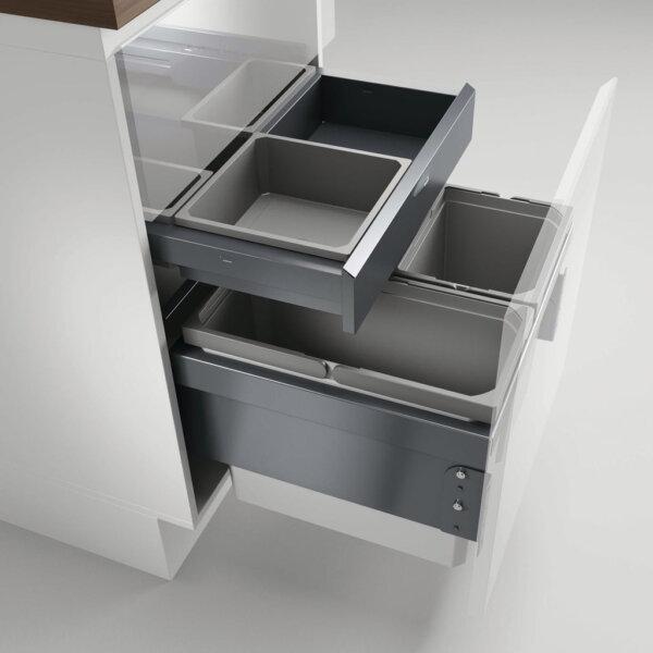 Cox® Base 360 S/500-3 met Base-Board, afvalsysteem voor Frontuittreksysteem, zonder biologisch deksel, lichtgrijs, H 460 mm