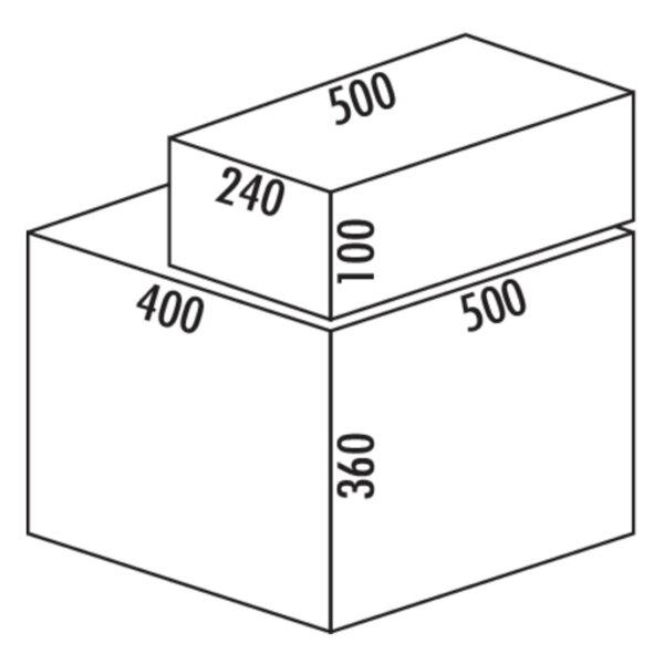 Coxィ Base 360 S/500-3 met Base-Board, Afvalverzamelsysteem voor Frontuittreksysteem., met biologisch deksel, lichtgrijs, H 460 mm