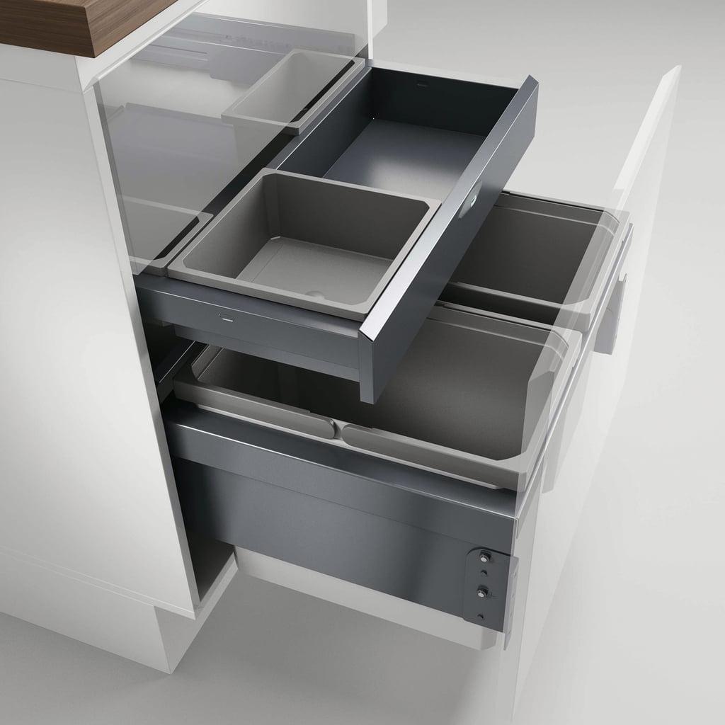 Cox® Base 360 S/600-2 met Base-Board, Afvalverzamelaar met frontuittreksysteem, lichtgrijs, H 460 mm
