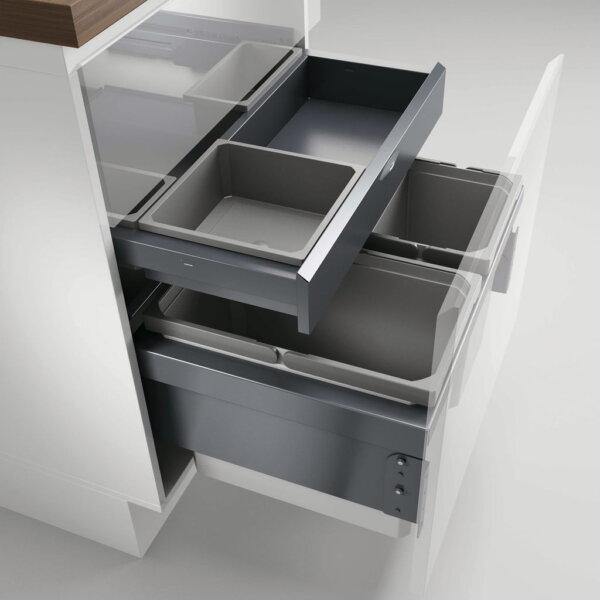 Cox® Base 360 S/600-3 met Base-Board, Afvalverzamelaar met frontuittreksysteem, zonder biologisch deksel, lichtgrijs, H 460 mm