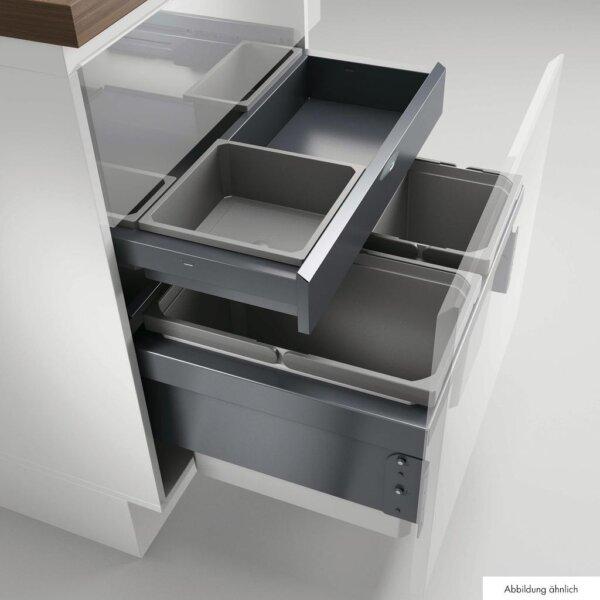 Cox® Base 360 S/600-3 met Base-Board, Afvalverzamelaar met frontuittreksysteem, met biologisch deksel, lichtgrijs, H 460 mm