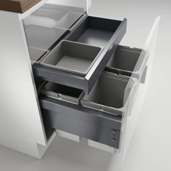 Cox® Base 360 S/600-4 met Base-Board, afvalsysteem voor Frontuittreksysteem, zonder biologisch deksel, lichtgrijs, H 460 mm