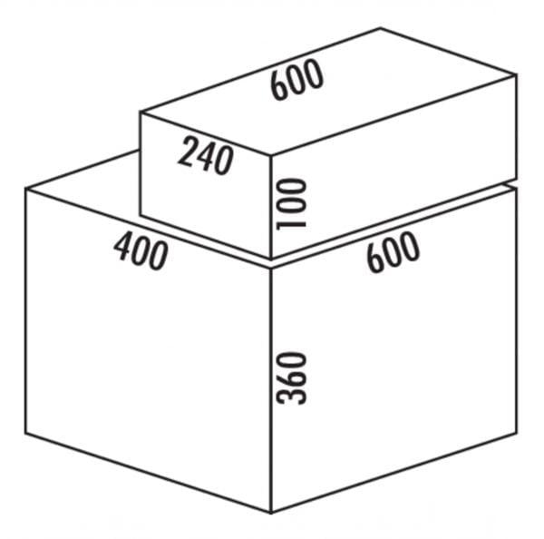 Coxィ Base 360 S/600-4 met Base-Board, Afvalverzamelsysteem voor Frontuittreksysteem., met biologisch deksel, lichtgrijs, H 460 mm