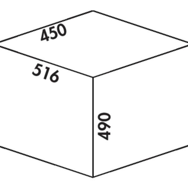 Cox Clanィ 490/450-2, Afvalverzamelsysteem voor Frontuittreksysteem., lichtgrijs, H 490 mm
