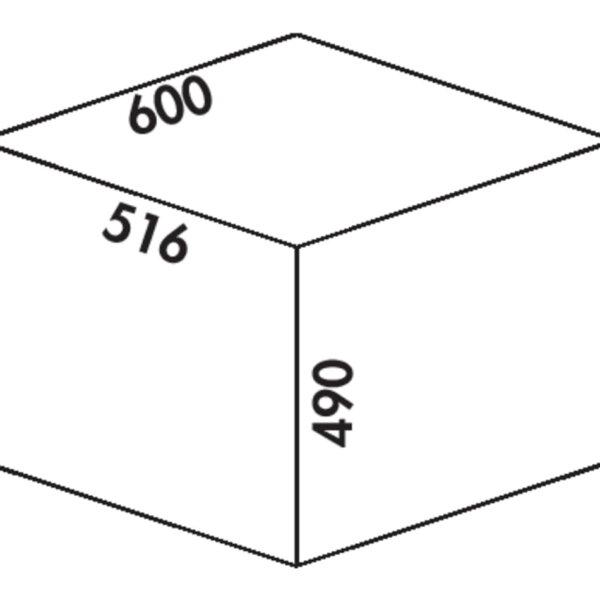 Cox Clanィ 490/600-3, Afvalverzamelsysteem voor Frontuittreksysteem., lichtgrijs, H 490 mm