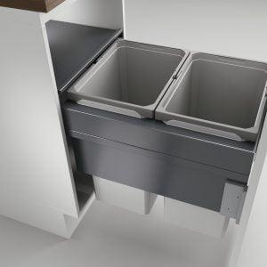 Cox Clan® 580/450-2, afvalsysteem voor Frontuittreksysteem, lichtgrijs, H 580 mm