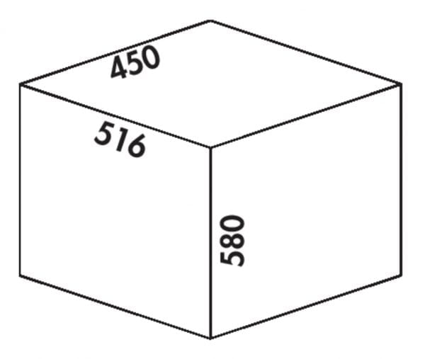 Cox Clanィ 580/450-2, Afvalverzamelsysteem voor Frontuittreksysteem., lichtgrijs, H 580 mm
