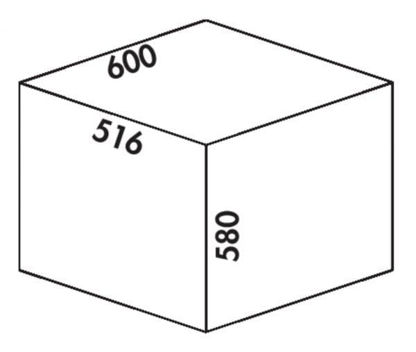 Cox Clanィ 580/600-3, Afvalverzamelsysteem voor Frontuittreksysteem., lichtgrijs, H 580 mm