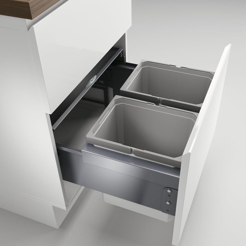 Cox® Base 360 K/600-2, Afvalverzamelaar met frontuittreksysteem, zonder biologisch deksel, lichtgrijs, H 360 mm