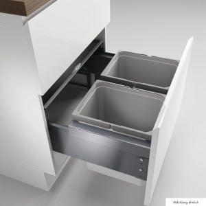Cox® Base 360 K/600-2, Afvalverzamelaar met frontuittreksysteem, met biologisch deksel, lichtgrijs, H 360 mm