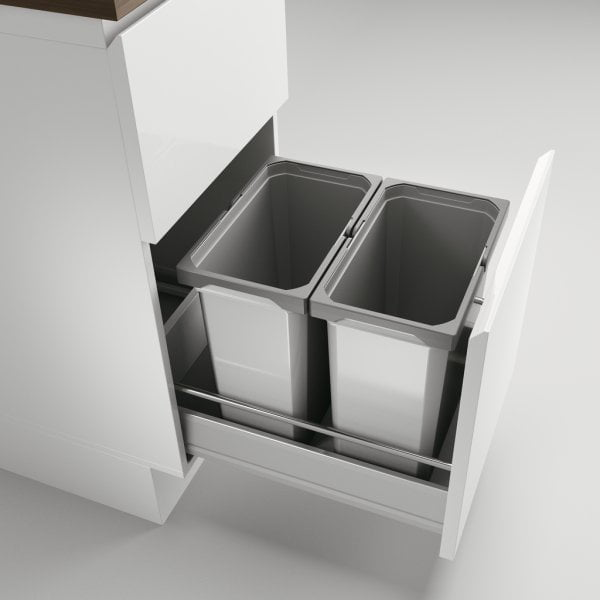 Cox® Box 360 S/400-2, Afvalsysteem voor gangbare uittreksystemen, zonder biologisch deksel, lichtgrijs