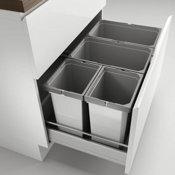 Cox® Box 350 S/800-4, Afvalsysteem voor gangbare uittreksystemen, zonder biologisch deksel, lichtgrijs