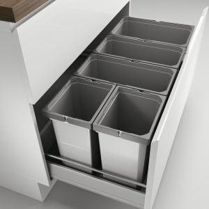 Cox® Box 350 S/1000-5, Afvalsysteem voor gangbare uittreksystemen, zonder biologisch deksel, lichtgrijs
