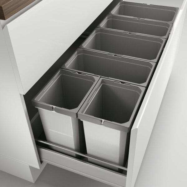 Cox® Box 350 S/1200-6, Afvalsysteem voor gangbare uittreksystemen, zonder biologisch deksel, lichtgrijs
