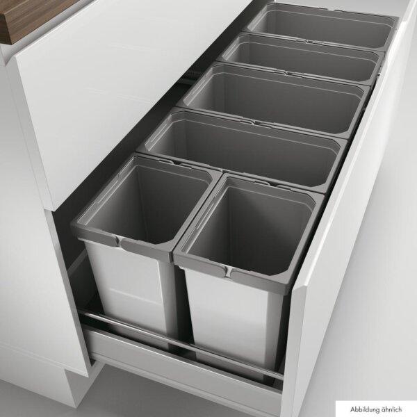 Cox® Box 350 S/1200-6, Afvalsysteem voor gangbare uittreksystemen, met biologisch deksel, lichtgrijs