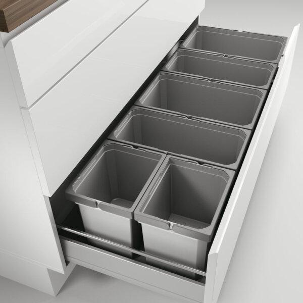 Cox® Box 235 S/1200-6, Afvalsysteem voor gangbare uittreksystemen, lichtgrijs