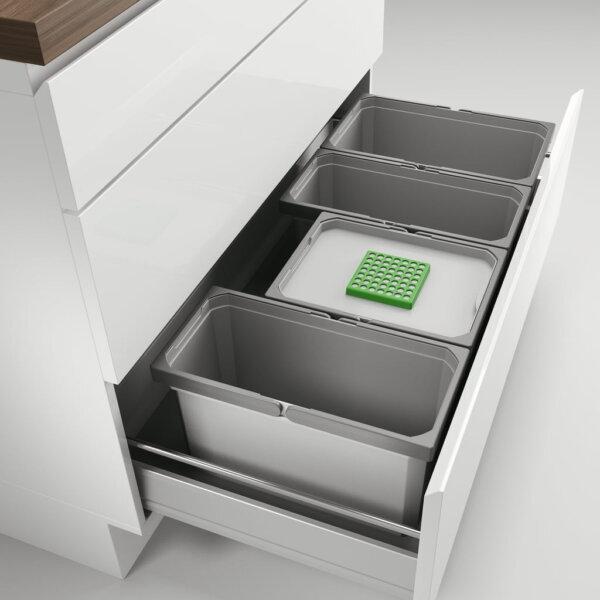 Cox® Box 235 S/1000-4 Bio, Afvalsysteem voor gangbare uittreksystemen, lichtgrijs