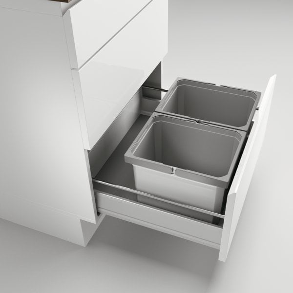 Cox® Box 235 K/600-2, Afvalsysteem voor gangbare uittreksystemen, zonder biologisch deksel, lichtgrijs